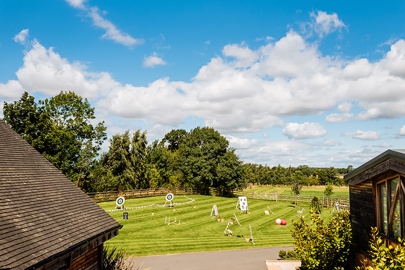 Set up a variety of garden games to entertain guests during your wedding reception at Mythe Barn