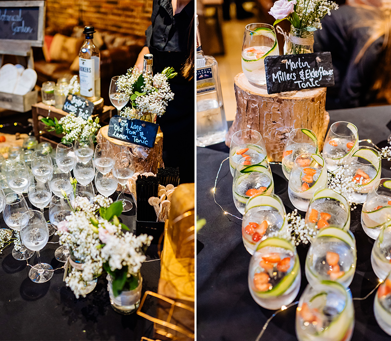 Cocktails are perfect wedding entertainment for your wedding at Mythe Barn in Leicestershire